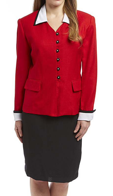 RF Studio 81004 ( 2pc Rayon Career Suit With Contrast Sleeves And Collar Jacket With Skirt )