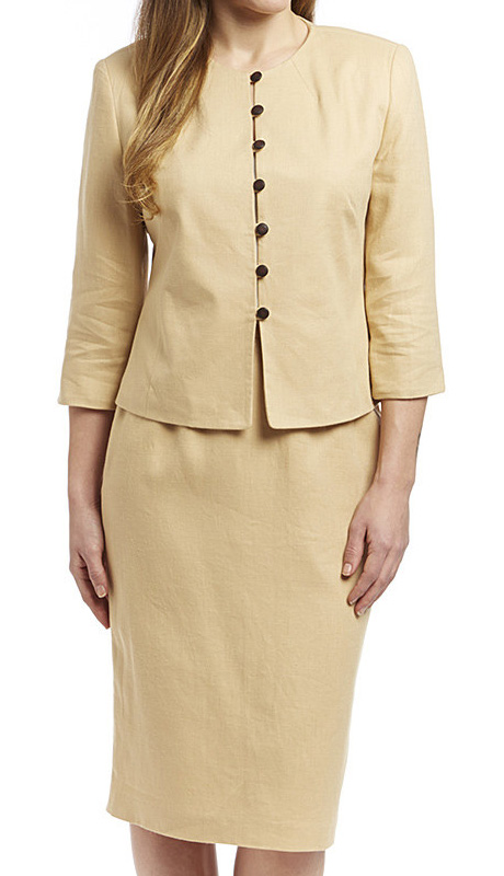 RF Studio 90350-SA ( 2pc Linen Church And Career Suit With Jacket And Skirt )