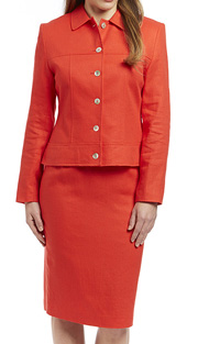 RF Studio 90351-RE ( 2pc Linen Ladies Church And Career Suit With Jacket And Skirt )