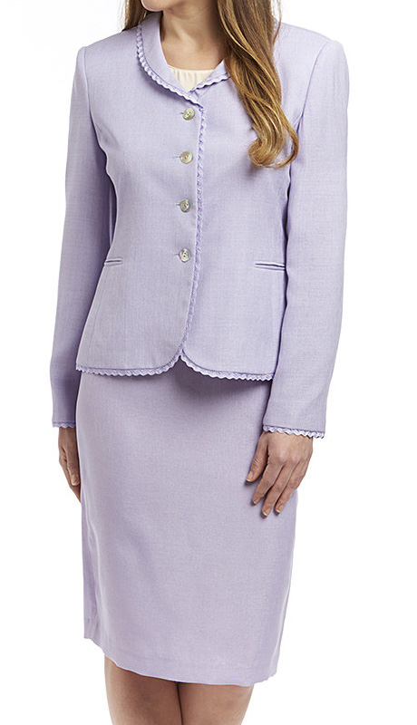 RF Studio 90505-LI-CO ( 2pc Renova Ladies Church And Career Suit With Ruffle Trim On Jacket With Skirt )