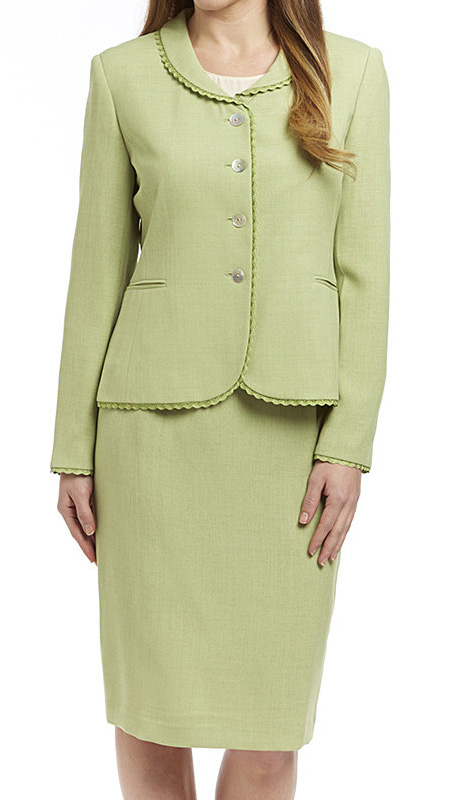 RF Studio 90505-LIM ( 2pc Renova Ladies Church And Career Suit With Ruffle Trim On Jacket With Skirt )