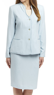 RF Studio 90514 ( 2pc Renova Ladies Church And Career Suit With Ruffle Trim On Jacket With Skirt )