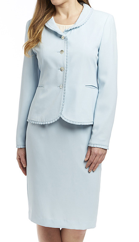 RF Studio 90515 ( 2pc Renova Ladies Church And Career Suit With Ruffle Trim On Jacket With Skirt )