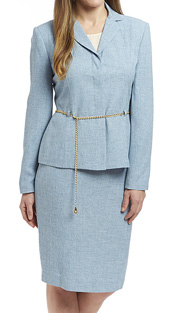RF Studio 90519 ( 2pc Renova Ladies Church And Career Suit With Tonal Jacket And Gold Chain Belt With Skirt )