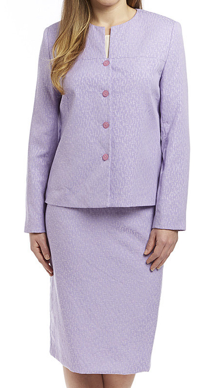 RF Studio 90602-LIL ( 2pc Jacquard Ladies Church And Career Suit, Lightly Textured Jacket And Skirt )