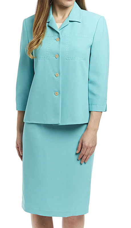 RF Studio 90621-AQU ( 2pc Renova Ladies Church And Career Suit With Embroidery Stitching Details, Jacket And Skirt )