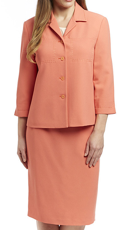 RF Studio 90621-COR ( 2pc Renova Ladies Church And Career Suit With Embroidery Stitching Details, Jacket And Skirt )