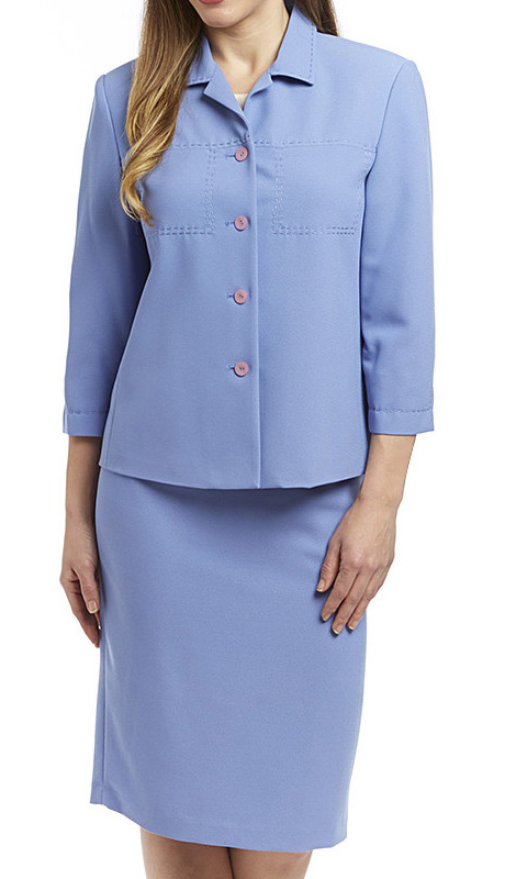 RF Studio 90621-LIL ( 2pc Renova Ladies Church And Career Suit With Embroidery Stitching Details, Jacket And Skirt )