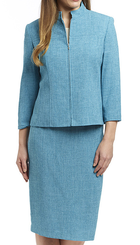 RF Studio 90646-TQ ( 2pc Renova Ladies Church And Career Suit With Tonal Texture And Front Zipper Modern Jacket With Skirt )