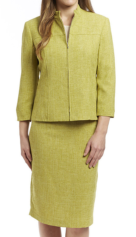 RF Studio 90646-KI ( 2pc Renova Ladies Church And Career Suit With Tonal Texture And Front Zipper Modern Jacket With Skirt )