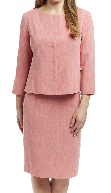 RF Studio 90651-PK ( 2pc Renova Ladies Church And Career Suit With Tonal Texture Jacket And Skirt )
