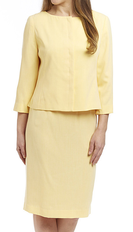 RF Studio 90651-YE-CO ( 2pc Renova Ladies Church And Career Suit With Tonal Texture Jacket And Skirt )