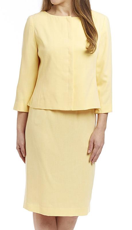 RF Studio 90651-YE ( 2pc Renova Ladies Church And Career Suit With Tonal Texture Jacket And Skirt )
