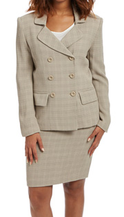 RF Studio 62200 ( 2pc Rayon Ladies Career Suit With Double-Breasted, Waffle Drop Stitch Jacket And Skirt )