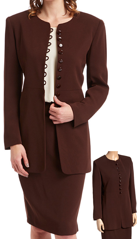 RF Studio 62402 ( 2pc Renova Ladies Church And Career Suit With Button Loop Front, Long Jacket And Skirt )