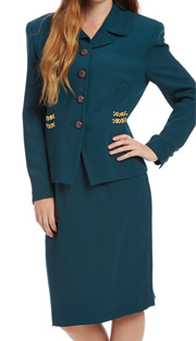 RF Studio 62810 ( 2pc Renova Ladies Career Suit With Gold Chain And Button Sleeve Detail On Jacket With Skirt )