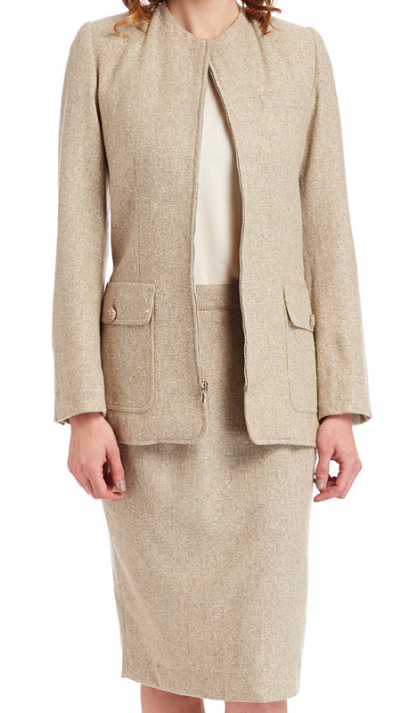RF Studio 85005-BE ( 2pc Silk And Tweed Blend Ladies Career Suit With Tonal Texture And Zipper Jacket With Skirt )