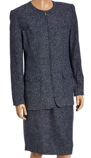RF Studio 85005-NA ( 2pc Silk And Tweed Blend Ladies Career Suit With Tonal Texture And Zipper Jacket With Skirt )
