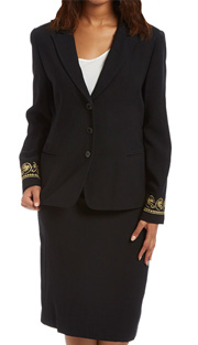RF Studio 90402-BLK ( 2pc Renova Ladies Church And Church And Career Suit With Gold Pattern Design On Sleeve Of Jacket With Skirt )