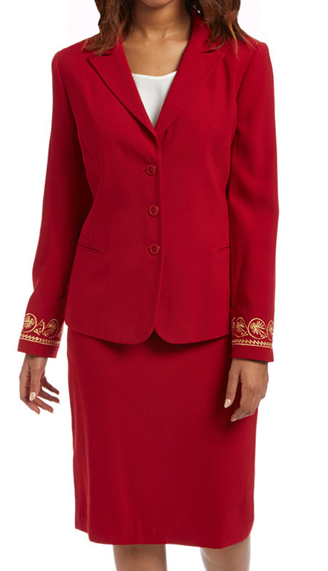 RF Studio 90402-RE ( 2pc Renova Ladies Church And Career Suit With Gold Pattern Design On Sleeve Of Jacket With Skirt )