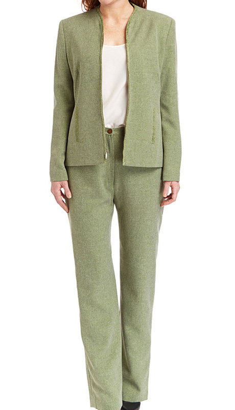 RF Studio 90735-AVO ( 2pc Tweed Ladies Career Suit With Zipper Front And Soft Ribbon Trim On  Jacket And Pant )