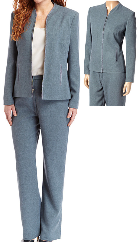 RF Studio 90735-TE ( 2pc Tweed Ladies Career Suit With Zipper Front And Soft Ribbon Trim On  Jacket And Pant )