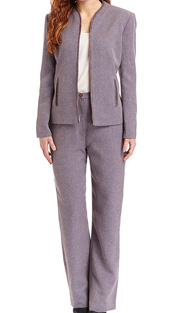 RF Studio 90735-WIS ( 2pc Tweed Ladies Career Suit With Zipper Front And Soft Ribbon Trim On  Jacket And Pant )