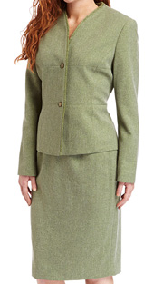 RF Studio 90736-AVO ( 2pc Tweed Ladies Church And Career Suit With Zipper Front And Soft Ribbon Trim On  Jacket And Skirt )