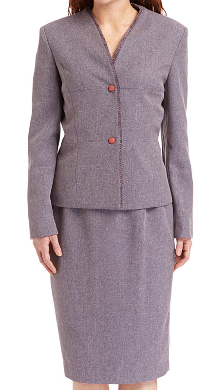 RF Studio 90736-WIS  ( 2pc Tweed Ladies Church And Career Suit With Zipper Front And Soft Ribbon Trim On  Jacket And Skirt )