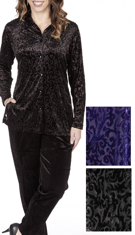 RF Studio 1805 ( 2pc Velour Pant Suit With Classy Monochrome Pattern )