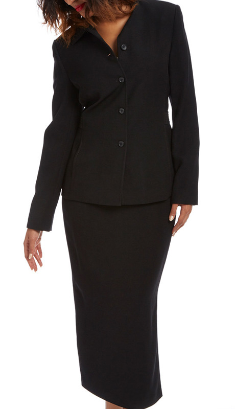RF Studio 90837-BLK ( 2pc Moleskin Ladies Career Suit With Jacket And Skirt )