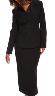 RF Studio 90837-BLK ( 2pc Moleskin Ladies Career Suit With Jacket And Skirt )