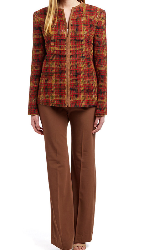 RF Studio 90841 ( 2pc Renova With Boucle Ladies Career Suit With Plaid Jacket And Solid Pant )