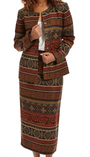 RF Studio 90846 ( 2pc Jacquard Ladies Church Suit With Paisley Pattern In Warm Tones, Jacket And Skirt )