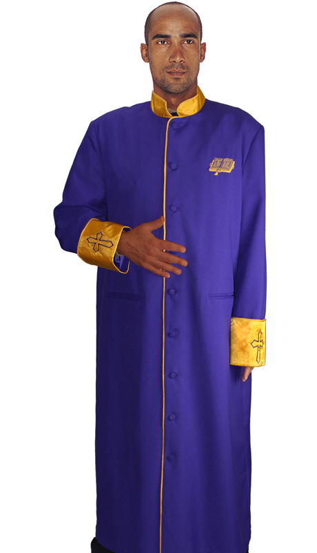 RR9091-PG-CO ( 1pc Mens Cassock Church Robe, Invert Pleat In Back With Satin Cuffs and Collar Pockets )