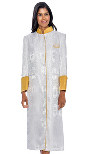 RR9501-WH ( 1pc Cassock Robe With Ornate Cross Pattern And Embroidered Cross On Sleeves )