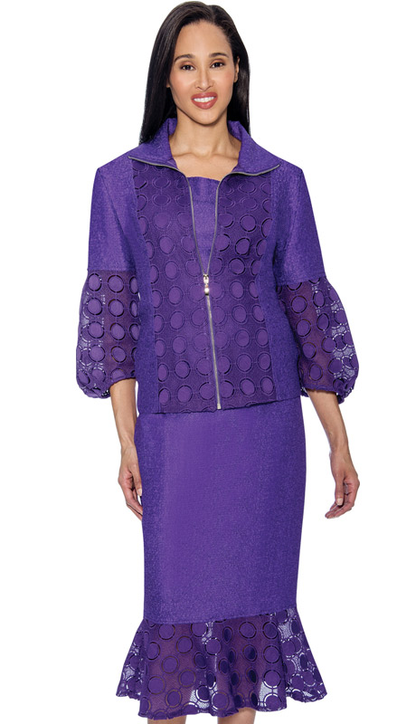 Rose Collection RC153-P ( 2pc  Flounce Hem Skirt Suit For Church With Intricate Cut Out Design )