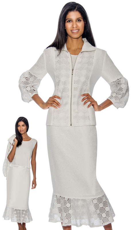 Rose Collection RC153-W ( 2pc  Womens Flounce Hem Sunday Skirt Suit With Intricate Cut Out Design )