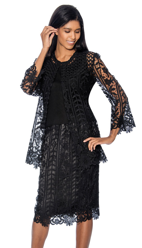 Rose Collection RC143-BLK ( 3pc Womens Church Suit With Intricate Cut Out Design )