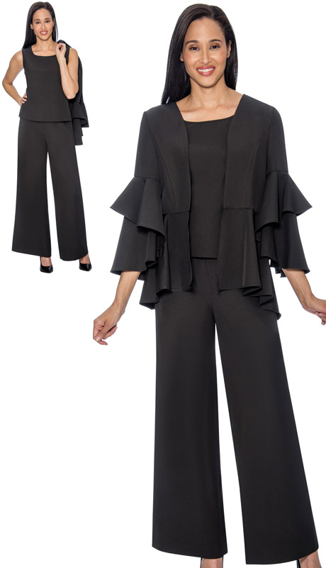 Rose Collection RC1034-BLK ( 3pc Womens Pant Suit With Layered Pleat Ruffle Design )