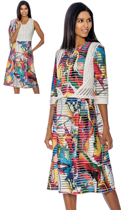 Rose Collection RC192 ( 2pc Jacket & Dress Set With Multi Color Print )