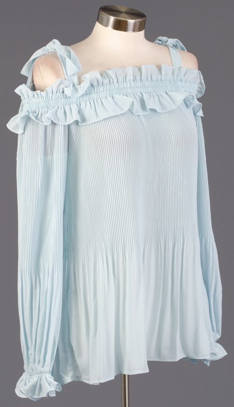 Why Collection T180639-LB ( 1pc Long Sleeve Pleated Top )