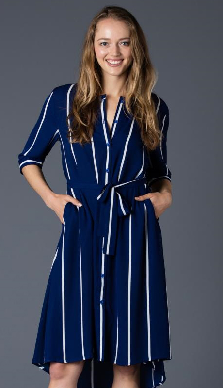 Why Collection T170455-NA ( 1pc Striped Button-Up Dress )