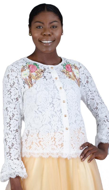 N By Nancy Collection K5004-WH ( 1pc Embroidered Lace Button Up Top )