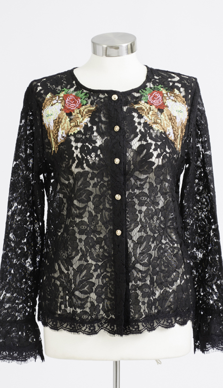 N By Nancy Collection K5004-BK ( 1pc Embroidered Lace Button Up Top )