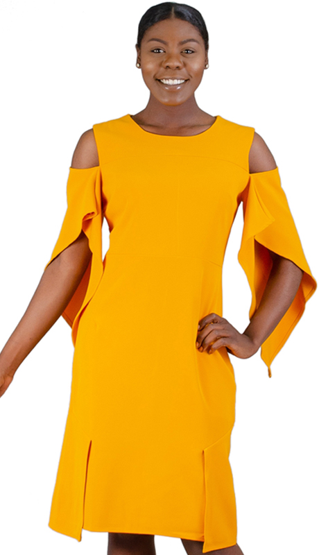N By Nancy Collection K5001-YE ( 1pc Cold Shoulder Wing Sleeve Dress )