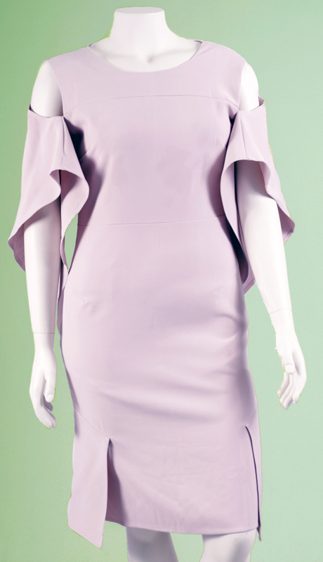N By Nancy Collection K5001-PI ( 1pc Cold Shoulder Wing Sleeve Dress )