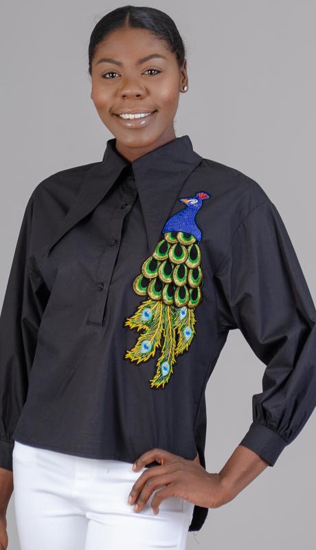 N by Nancy Collection K29-BK ( 1pc Peacock Applique Blouse )