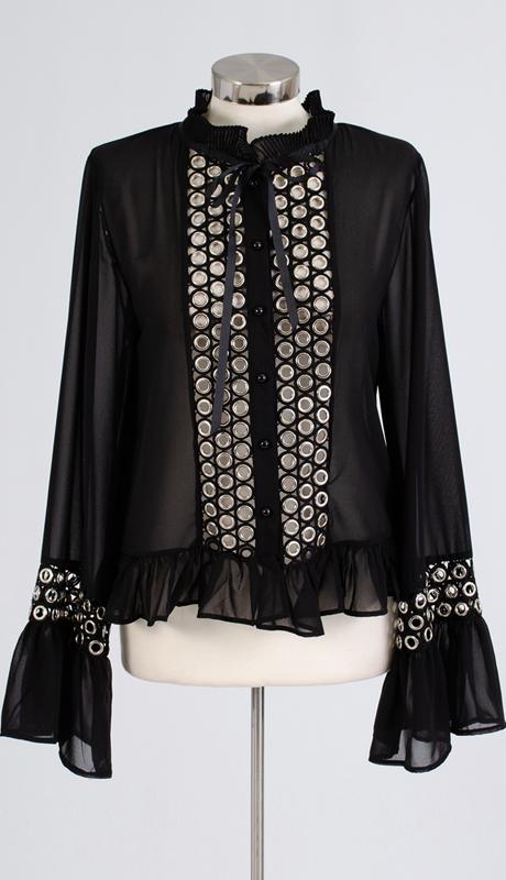 N by Nancy Collection C995-BK ( 1pc Long Sleeve Sheer Grommet Top )