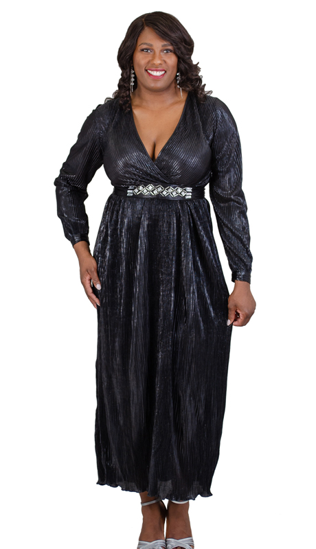 N By Nancy Collection C1827-BK ( 1pc Pleated Metallic Dress With Detachable Belt )